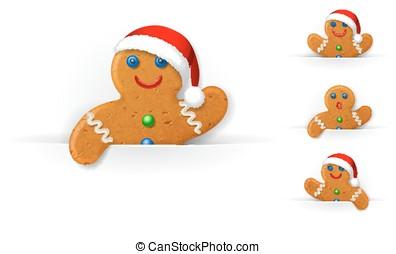 Set of Christmas gingerbread mans