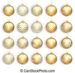 Set of Christmas gold balls. Isolated on white background. Vector illustration.