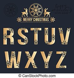 Set of Christmas golden alphabet with snowflakes.