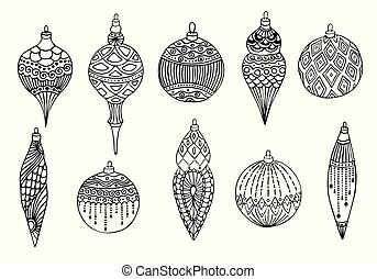 Set of Christmas hand drawn balls. Isolated on white background. Vector illustration
