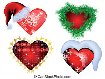 set of christmas heart