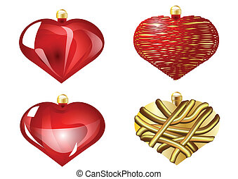 set of christmas heart