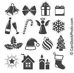 Set of Christmas Holidays Icons Pictograms Flat Black Isolated on White