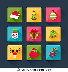 Set of christmas icons in flat design style.