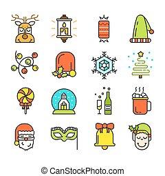 Set of Christmas Icons Isolated. Flat Style.
