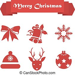 Set of Christmas icons on a white background with ribbon