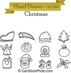 Set of Christmas icons vector art