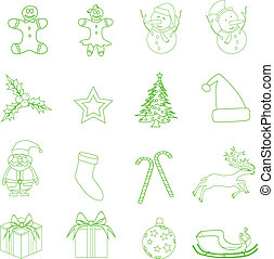 Set of Christmas icons vector illustration.