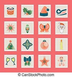 set of christmas icons vector