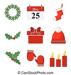 Set of Christmas icons. Vector illustration