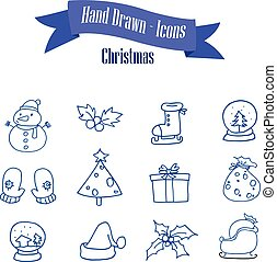 Set of Christmas icons with snowman gift