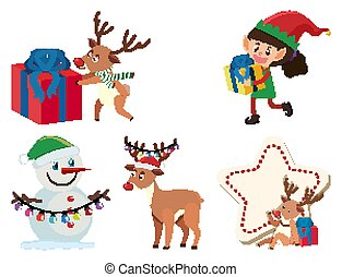 Set of christmas items on white background
