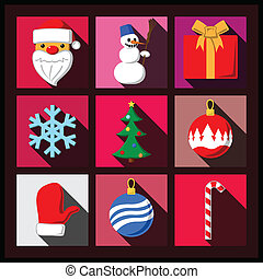 Set of Christmas long shadow flat icons