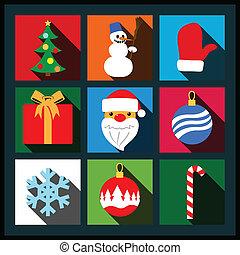 Set of Christmas long shadow flat icons