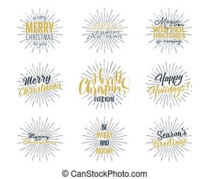 Merry christmas lettering let it snow typography quote vectors set of christmas new year 2017 lettering wishes sayings and vintage labels m4hsunfo
