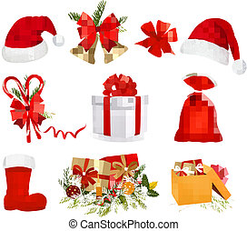 Set of Christmas objects.