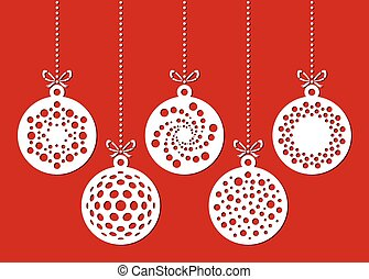Set of christmas ornaments drawn by dots. Template for laser cutting. Christmas card.