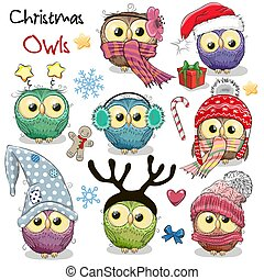 Set of Christmas owls on a white background