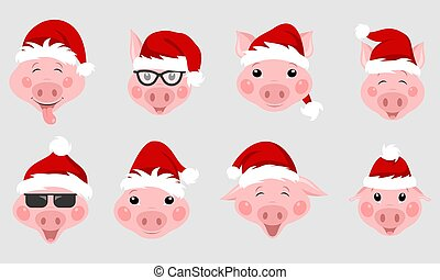 Set of Christmas Pigs with Santa Hats. Symbol 2019 New Year