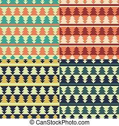 Set of Christmas retro patterns.