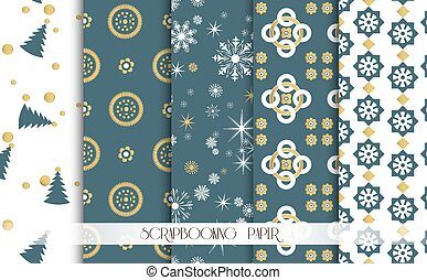 Set of Christmas Seamless backgrounds. Blue and gold. Vector