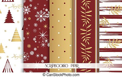 Set of Christmas Seamless backgrounds. Red and gold. Vector