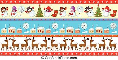 Set of christmas seamless border