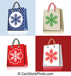 Set of christmas shopping bags