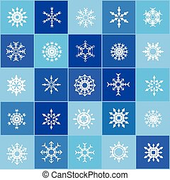 Set of christmas snow flakes on the blue background ...