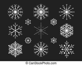 Christmas snowflakes on a black background.