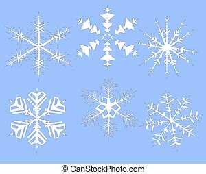 set of Christmas snowflakes on a blue background