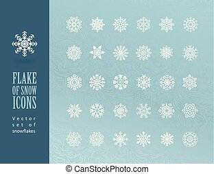 Set of Christmas snowflakes on blue background