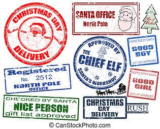 Set of Christmas stamps - Set of isolated grunge Christmas...