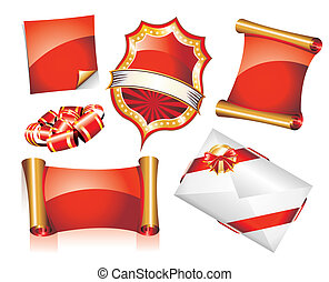 Set of Christmas Stickers or Icons