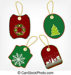 Set of Christmas stickers vector illustration