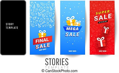 Set of christmas stories sale banner background with red surprise gift boxes, snow on a blue background can be used for mobile app, poster, flyer, coupon