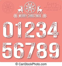 Set of Christmas stylized numbers with snowflakes.