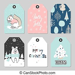 Set of Christmas tags with cute animals and hand drawn decoration elements. Vector illustration.