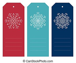 Set of christmas tags with geometric snowflakes