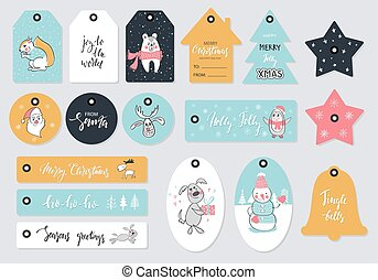 Set of Christmas tags with hand drawn decoration elements. Vector illustration.
