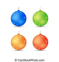 set of Christmas toys balls snowflakes in different colors