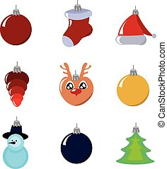 Set of Christmas toys. Multi-colored balls and figures. Decor for the party. Design for posters, banners, flyers.