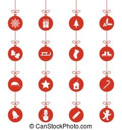 Set of christmas toys, vector illustration