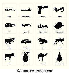Set of christmas tree, camel, zebra, frog, moose, illinois state, train, handgun, cuba icons
