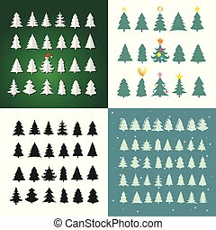Set of Christmas tree silhouette design vector set. Concept tree icon collection