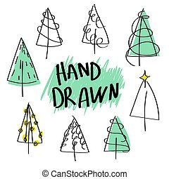 set of christmas trees black outline drawn by hand. Doodle style.