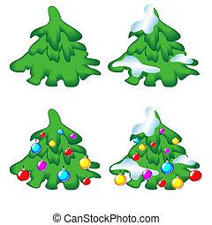 Set of christmas trees.