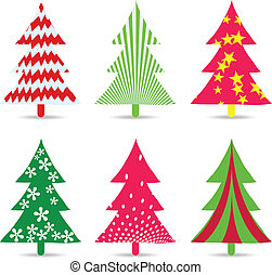set of christmas trees for design