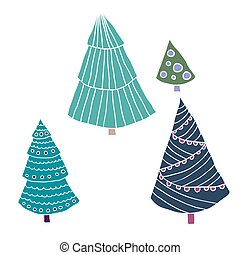 Set of christmas trees in scandinavian style, doodle vector illustration