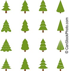 Set of Christmas trees, vector illustration